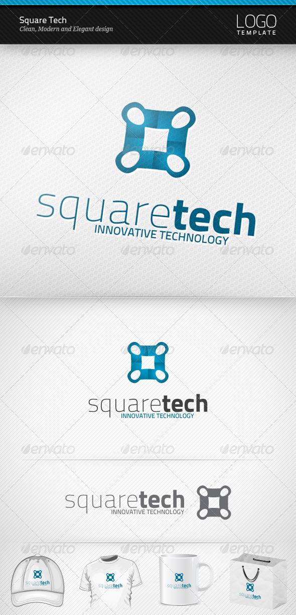 Square Tech Logo - Vector Abstract