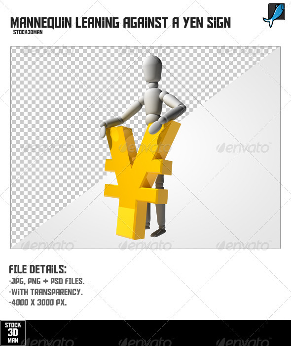 Mannequin Leaning Against a Yen Sign - Characters 3D Renders