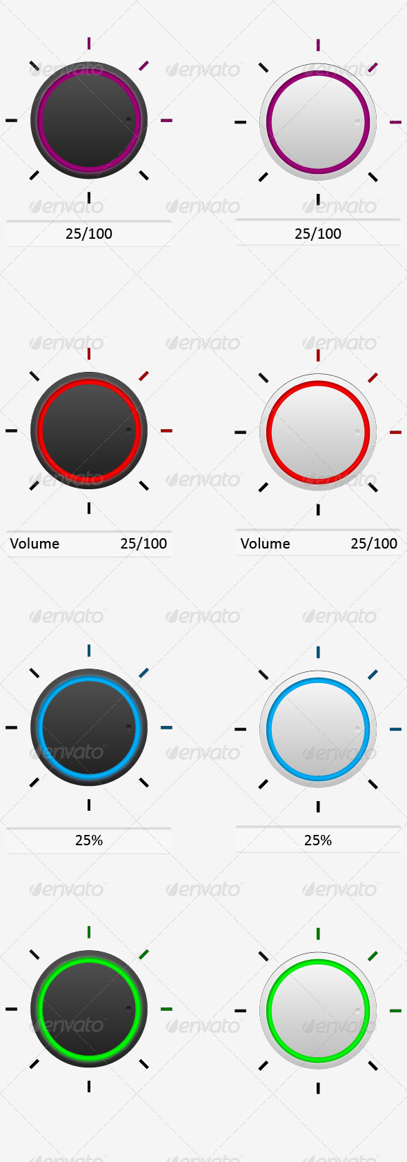 GraphicRiver Volume Control Knob Set 3665564