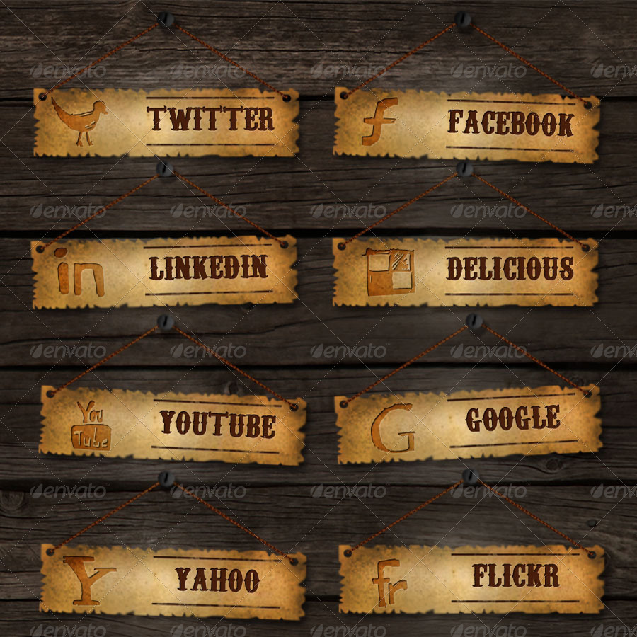 Old School Social Media Buttons