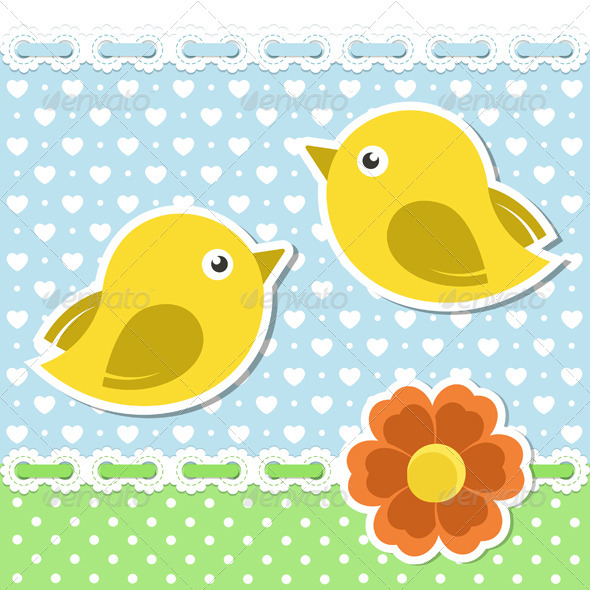 GraphicRiver Romantic Background With Birds And Flower 3720505