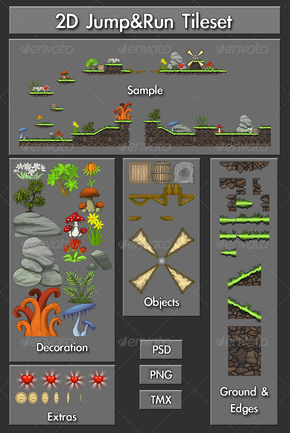 2D Jump&Run Tileset - Illustrations Graphics