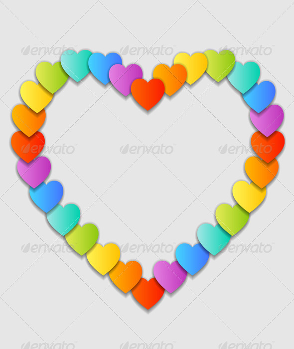 Vector Valentine's Day Card with Colorful Hearts - Valentines Seasons/Holidays