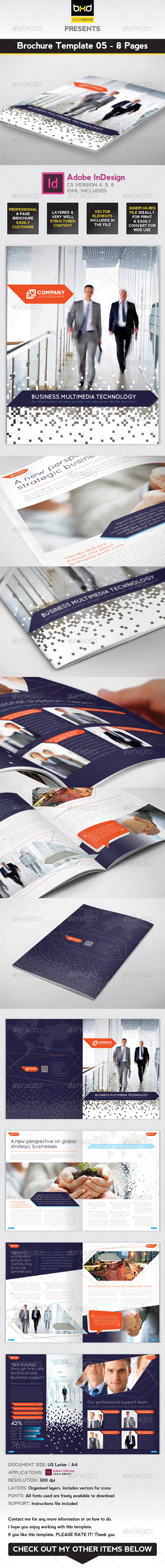 Brochure Template - InDesign 8 Page Layout 05 - Corporate Brochures