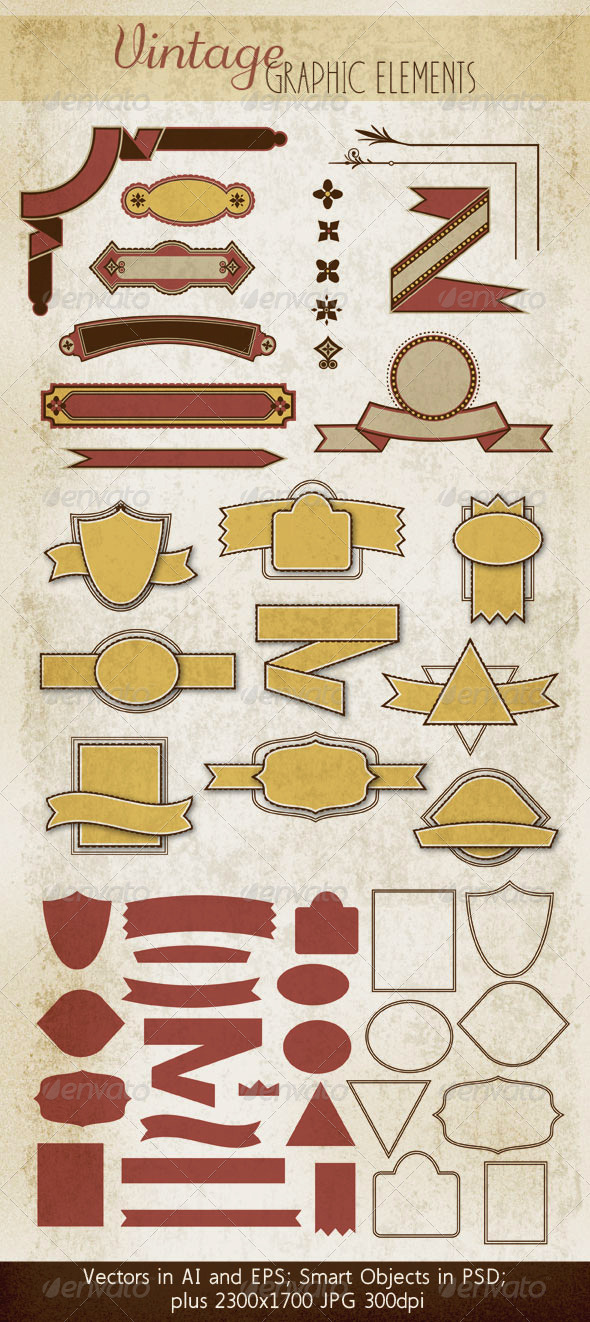 GraphicRiver Badges Ribbons & Decorative Elements 3725044