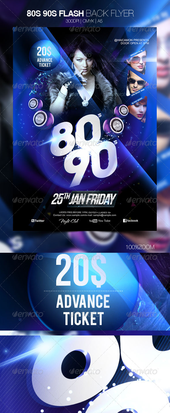GraphicRiver 80s 90s Flash Back Flyer 3725847