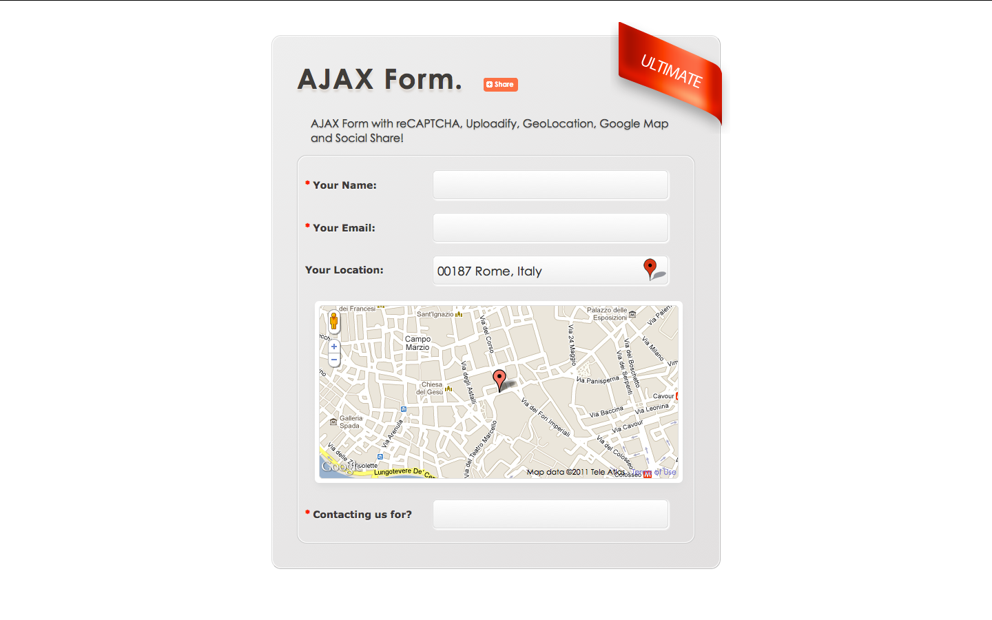 AJAX Form: reCAPTCHA Uploadify Google Map AddThis!