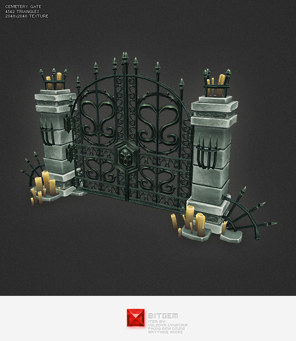 Low Poly Cemetery Gate - 3DOcean Item for Sale