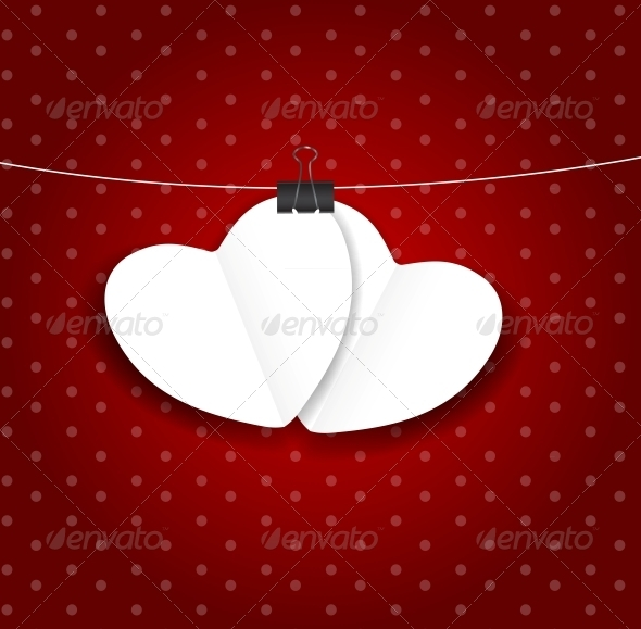 GraphicRiver Valentines Day Paper Heart Background Vector 3728342
