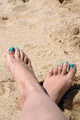 Feet With Green Polish On The Sand - PhotoDune Item for Sale