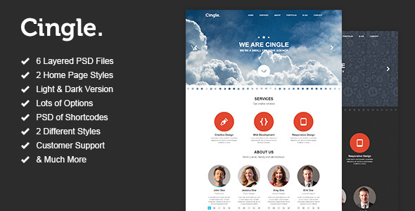 Cingle - One Page Portfolio PSD Template