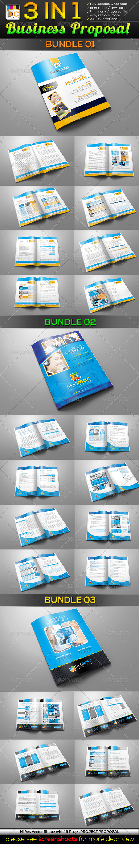 GraphicRiver 3 in 1 Business Project Proposal Bundle 3730461