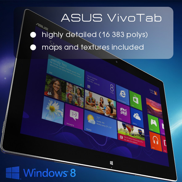 3DOcean Windows 8 Tablet ASUS VivoTab High Poly 3730466