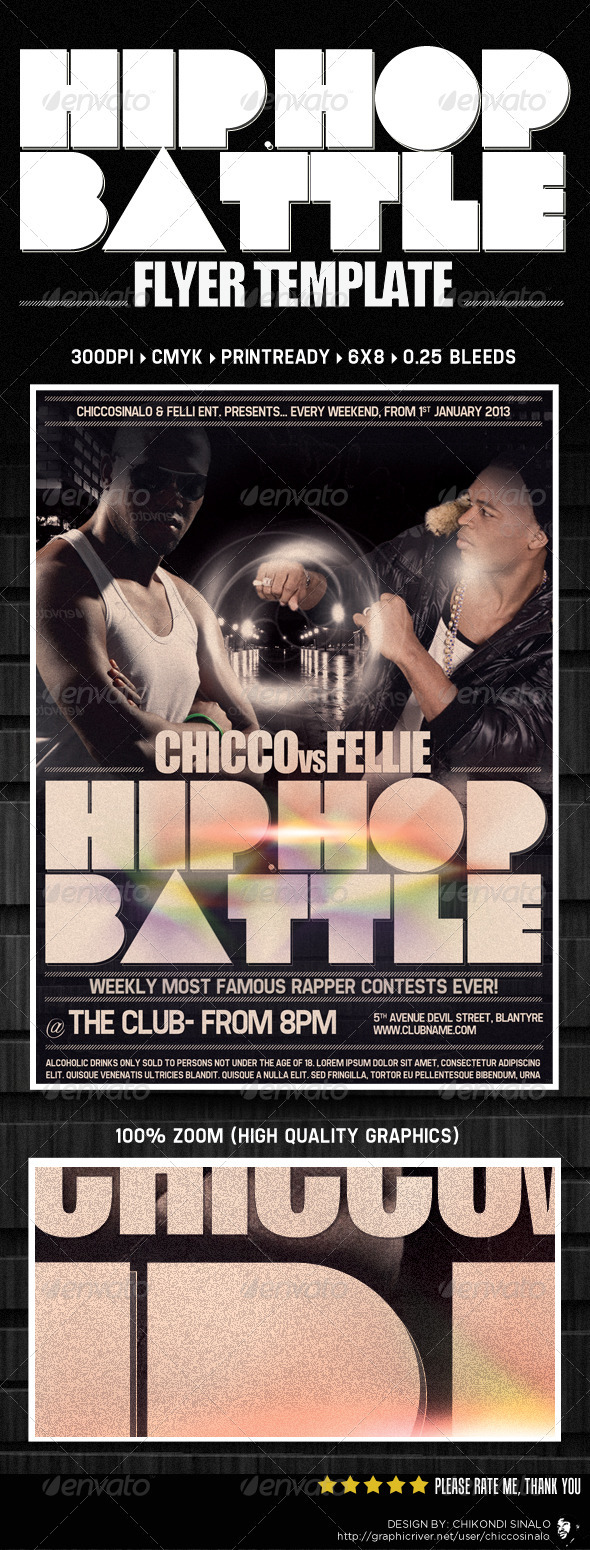 Hip Hop Battle Flyer Template - Clubs &amp; Parties Events