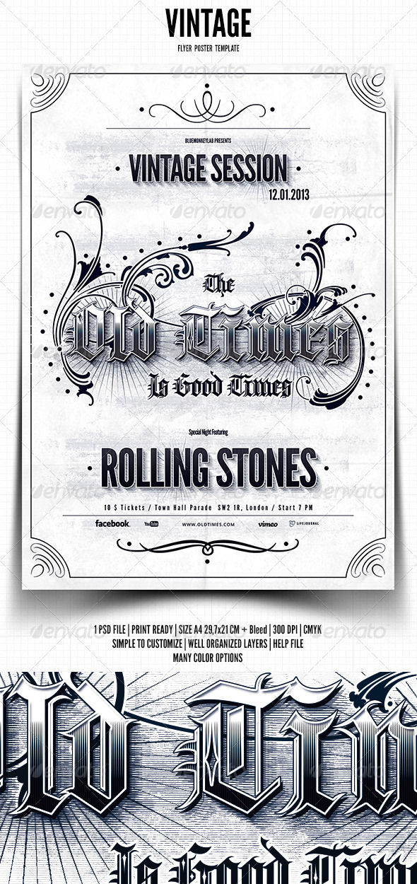 GraphicRiver Vintage Typography Flyer Poster 3731398