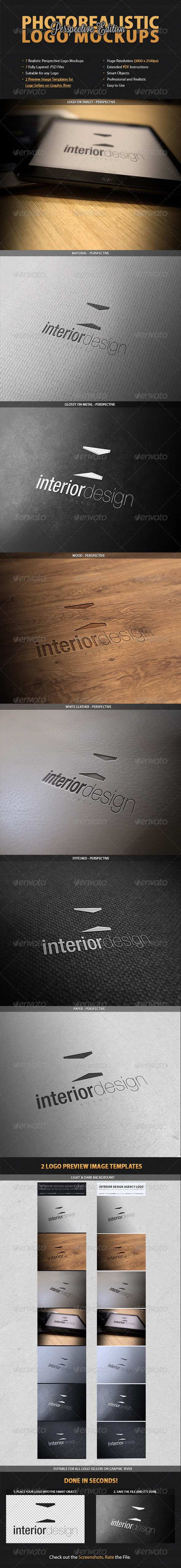 GraphicRiver 7 Photorealistic Logo Mockups Perspective 3693405