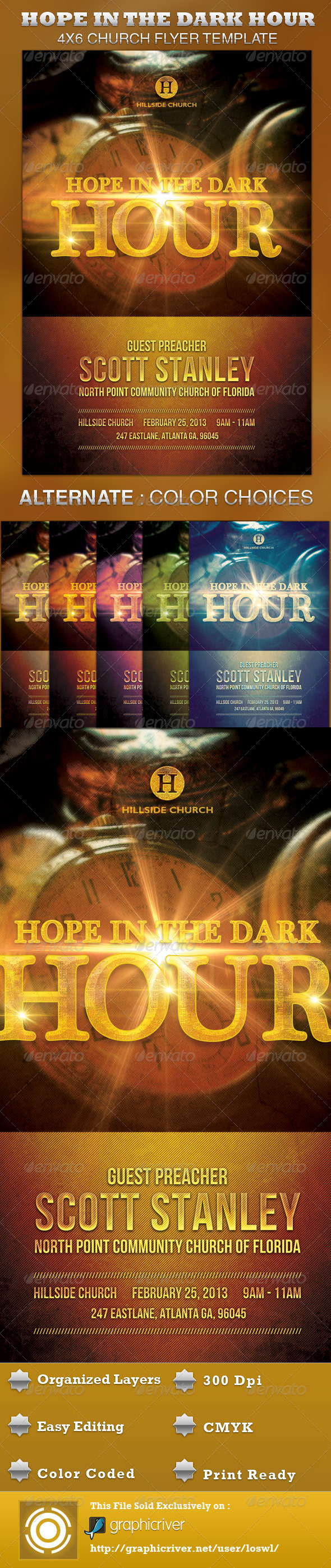 GraphicRiver Hope in the Dark Hour Church Flyer Template 3731795