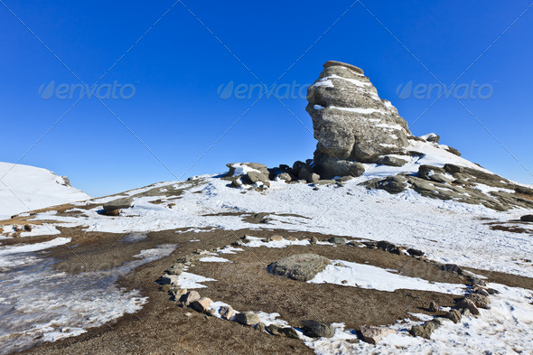 The Bucegi Sphinx , Romania - Stock Photo - Images