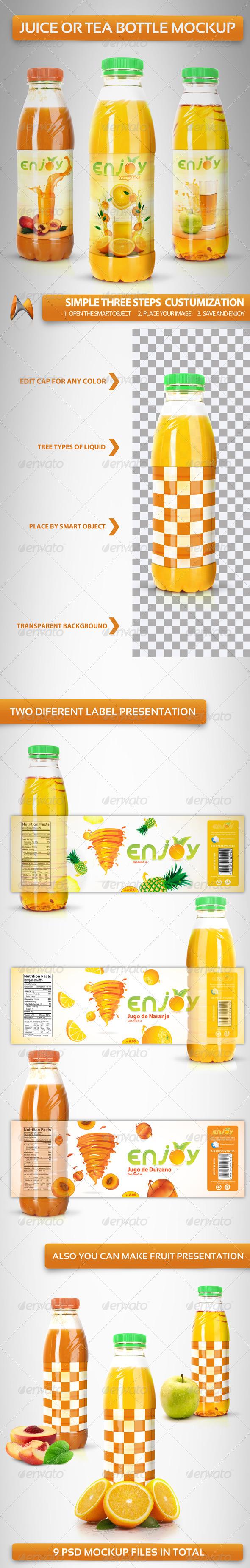 GraphicRiver Juice or Tea Bottle Mockup 3732906