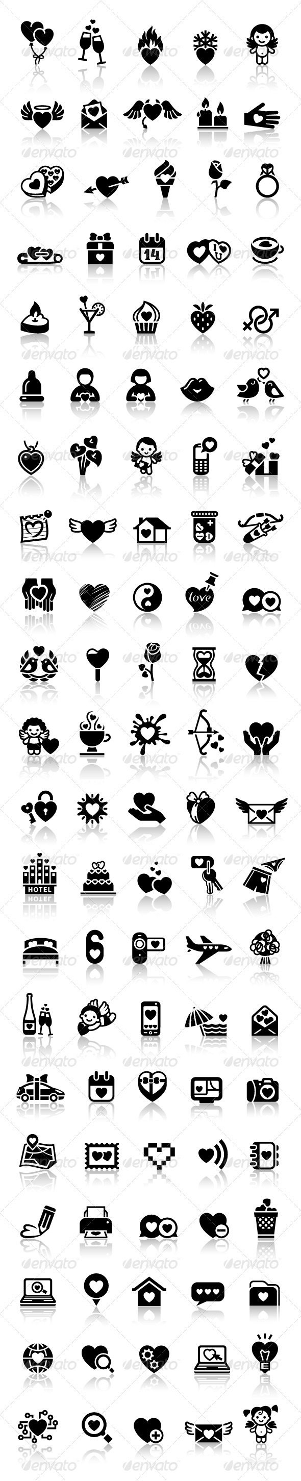 GraphicRiver Set love icons 3736988