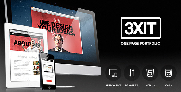Exit - parallax single page portfolio - Creative Site Templates