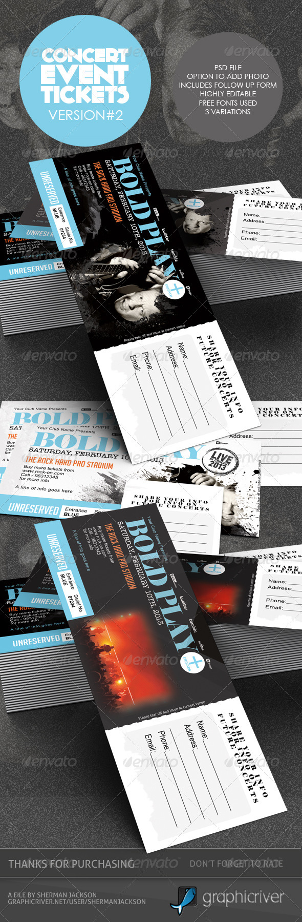 concert event tickets passes version 2 graphicriver. Black Bedroom Furniture Sets. Home Design Ideas