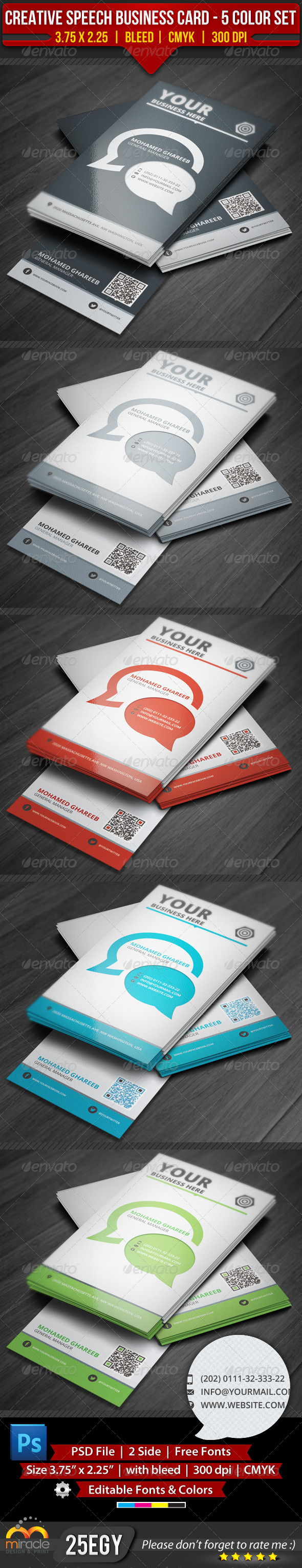 GraphicRiver Creative Speech Business Card 5 Color Set 3738554