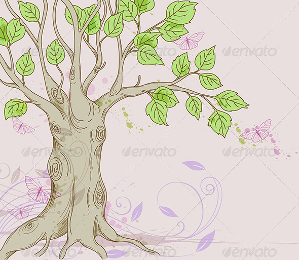 GraphicRiver Background with Tree 3738603