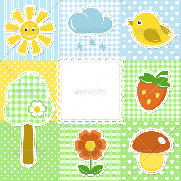 GraphicRiver Summer Frame with Flower Strawberry and Bird 3740467