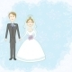 Bride and Groom on Blue Background - GraphicRiver Item for Sale