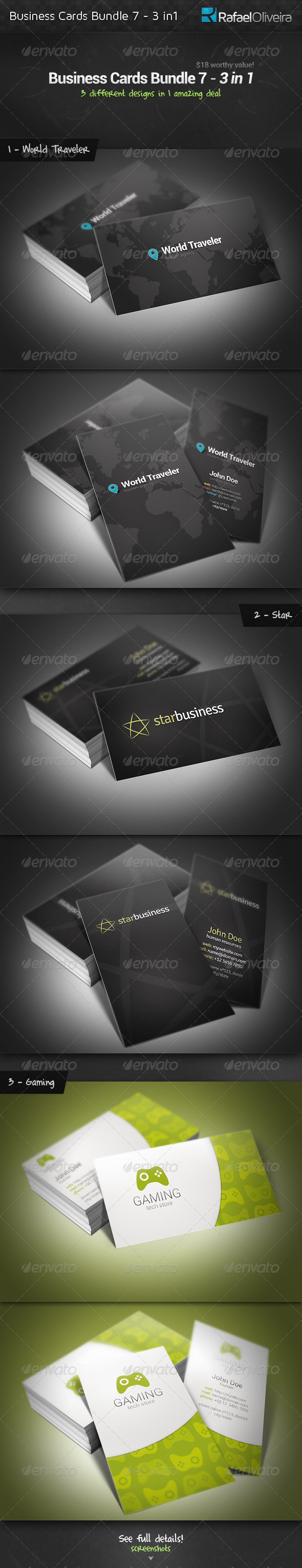 GraphicRiver Business Cards Bundle 7 3 in 1 3742742
