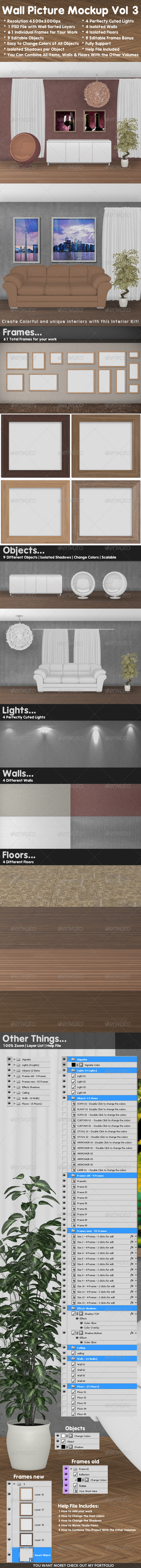 GraphicRiver Wall Picture Mock-Up vol 3 3743480