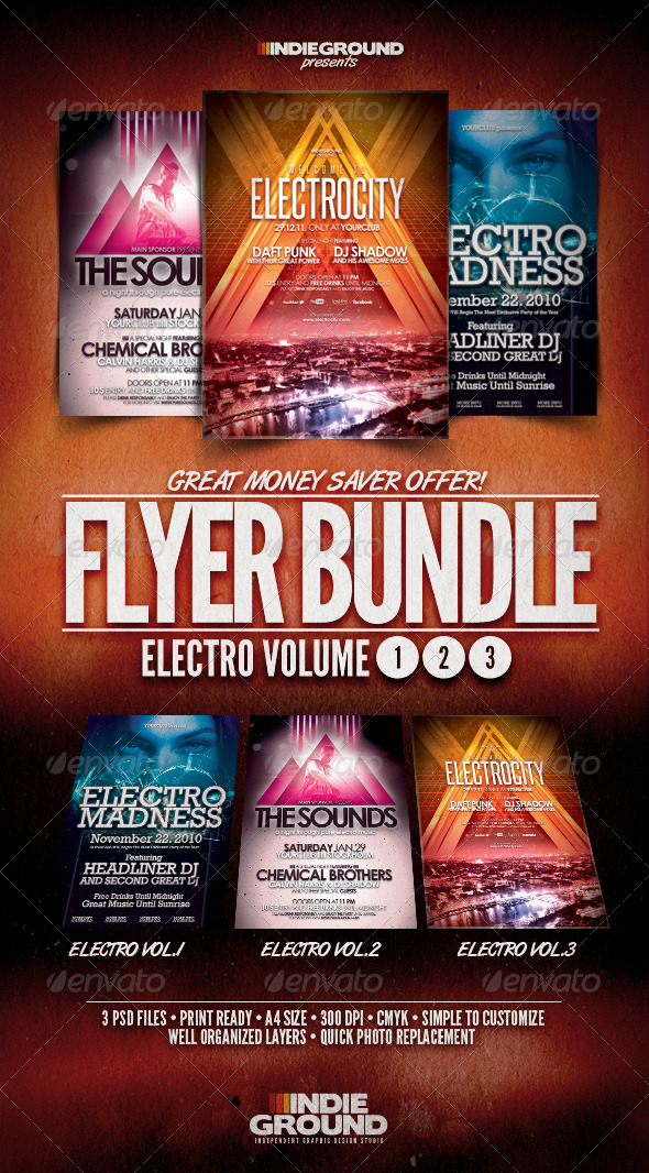 GraphicRiver Electro Flyer Poster Bundle Vol 1-3 3744336