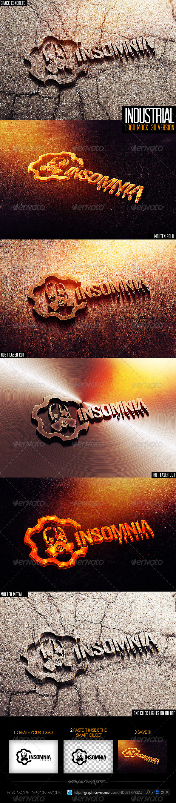 Industrial Photorealistic 3D Logo Mock-Up  - Logo Product Mock-Ups