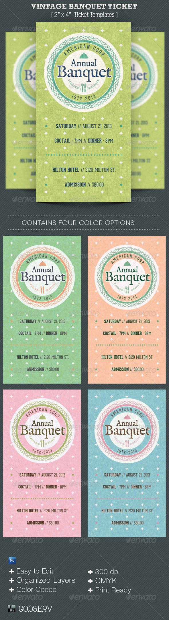 Vintage Banquet Ticket Template - Miscellaneous Print Templates