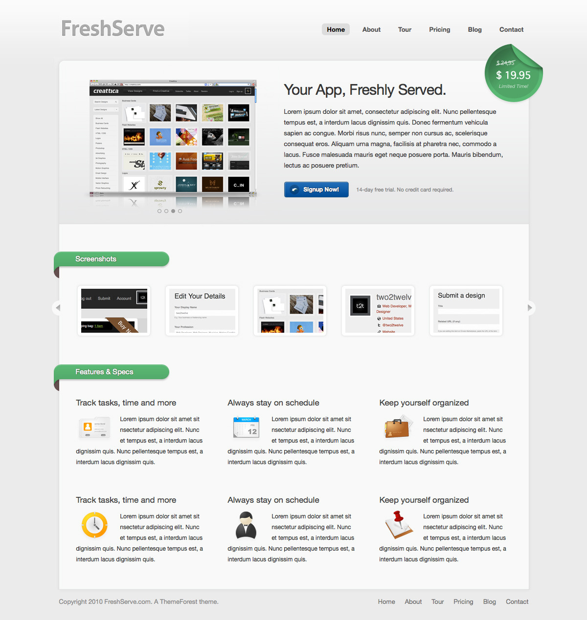 FreshServe - A Web App / SaaS Wordpress Theme - Homepage of FreshServe: Slider that supports images and videos, jQuery Scroller and FancyBox for screenshots.