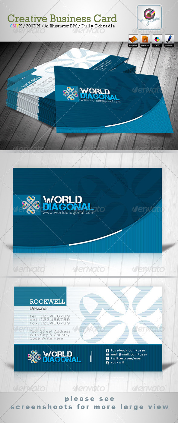 GraphicRiver World Diagonal Business Card 3749949