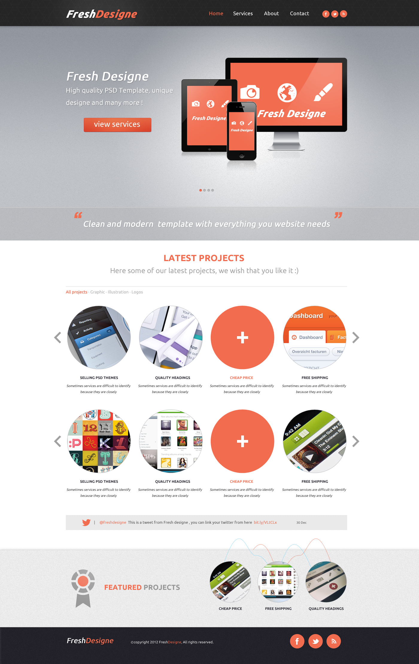 FreshDesigne - Creative WordPress PSD Template