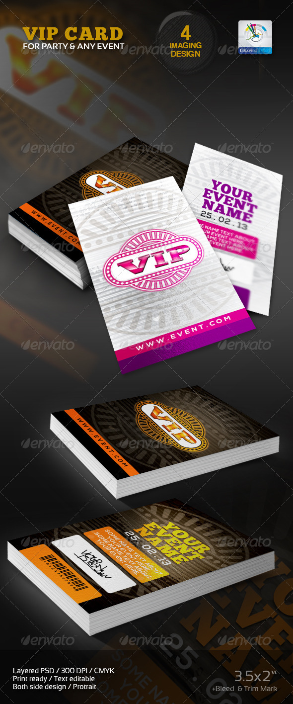 VIP Card/Pass Multipurpose usable - Cards & Invites Print Templates