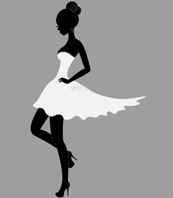 Beautiful girl in white dress - People Characters