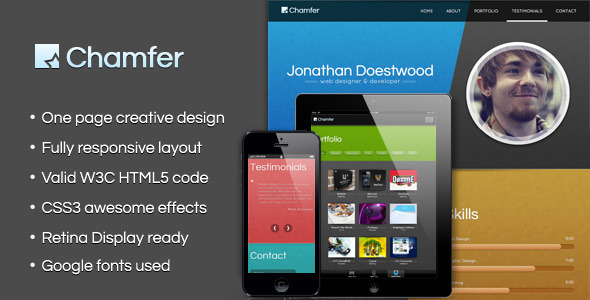 ThemeForest Chamfer One Page Creative HTML Template 3760083