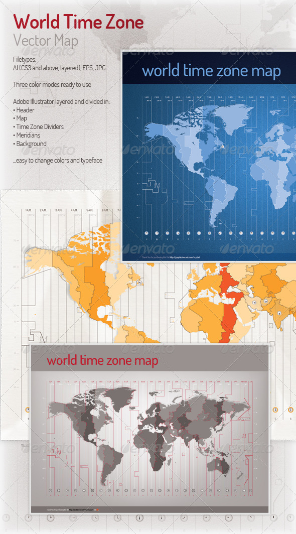 GraphicRiver Time Zone Vector Map 3704463