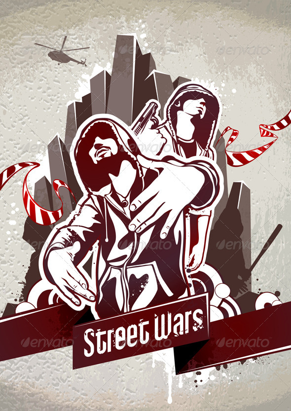 Grungy poster with two gangsters - Vectors