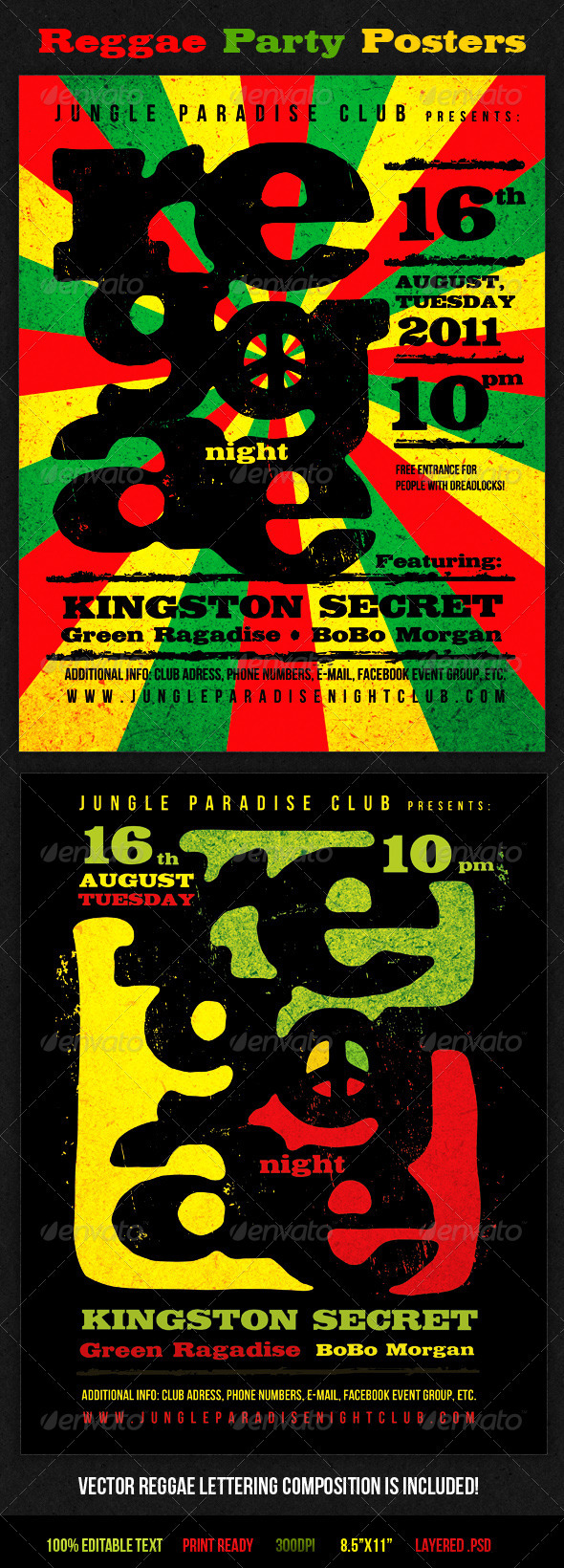 Print Templates : Reggae Party Posters GraphicRiver 405274 - Flyers Events Clubs & Parties
