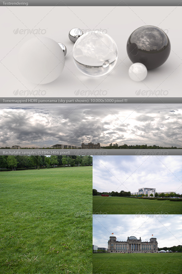 HDRI panorama -1049- cloudy sky REICHSTAG BERLIN - 3DOcean Item for Sale