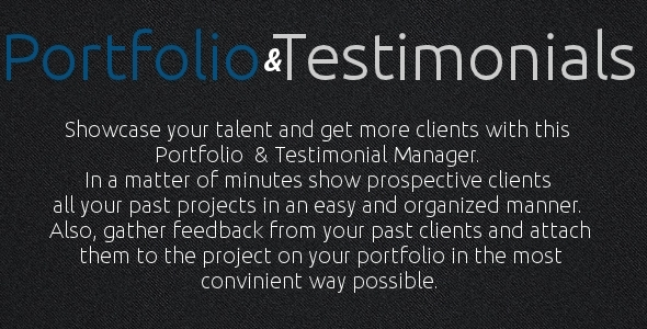 Portfolio and Testimonials Manager - CodeCanyon Item for Sale