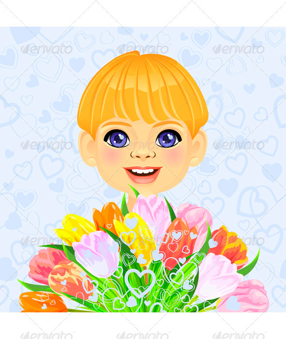 Vector Boy with a Festive Bouquet of Flowers - Valentines Seasons/Holidays