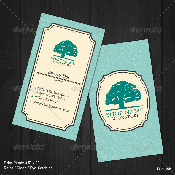 Bookstore Retro Business Card - Retro/Vintage Business Cards