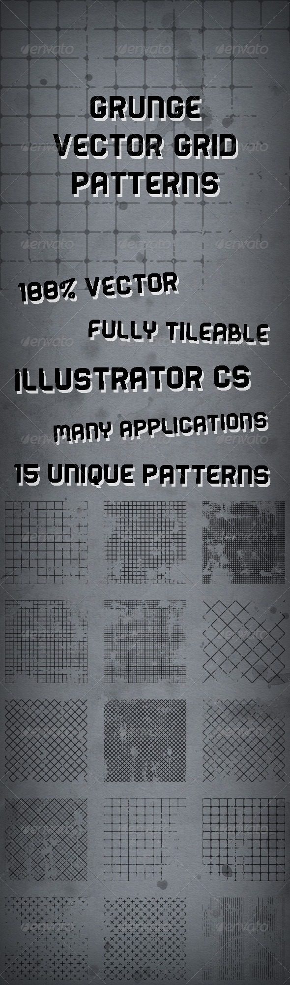 15 Illustrator Vector Grunge Grid Patterns - Urban Textures / Fills / Patterns