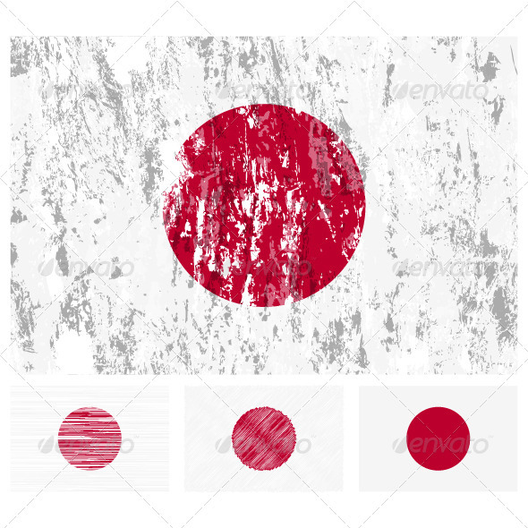 GraphicRiver Japan grunge flag set 3768054